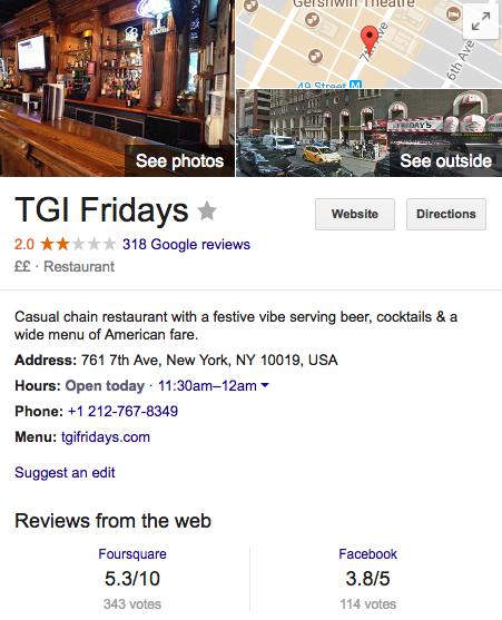 Google Local Search - TGI Friday's
