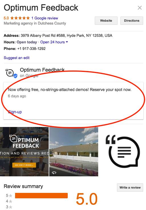 Google Posts Optimum Feedback